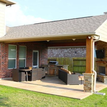 Covered Patio with Outdoor Kitchen and Fireplace-Cinco Ranch, Katy, Texas