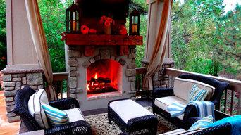 Cozy Seating Area Around Custom Built Fireplace