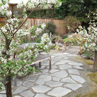 Ispirazione per un patio o portico etnico dietro casa