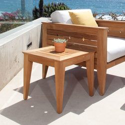 Craftsman Teak Side Table - Part of the Craftsman Collection, the Craftsman Teak Side Table is finely sanded and then buffed for an unbelievably smooth finish. This transitional piece can be added to any area outdoors as well as indoors.