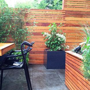 Diseño de patio actual, en patio trasero, con jardín de macetas y adoquines de piedra natural