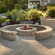 Outdoor Fire Pit With Paving Brick Patio Traditional