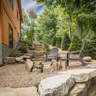 Inspiration for a mid-sized rustic backyard gravel patio remodel in Charlotte with a fire pit and no cover