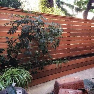 Ispirazione per un grande patio o portico design dietro casa con un giardino in vaso, lastre di cemento e nessuna copertura