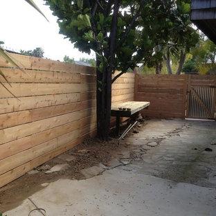Idee per un patio o portico design di medie dimensioni e davanti casa con un giardino in vaso e pavimentazioni in cemento