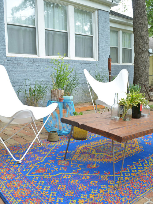 Perfect Eclectic Patio Idea In Dallas With Brick Pavers