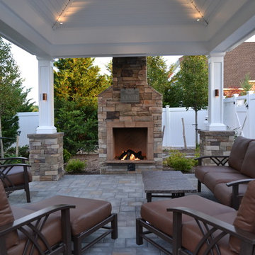 Deep seating Homecrest furniture, pavilion, and cultured stone gas fireplace. ww