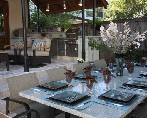 Example Of A Transitional Patio Kitchen Design In Houston