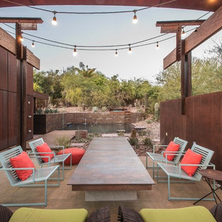 Inspiration for a large industrial backyard patio remodel in Phoenix with no cover