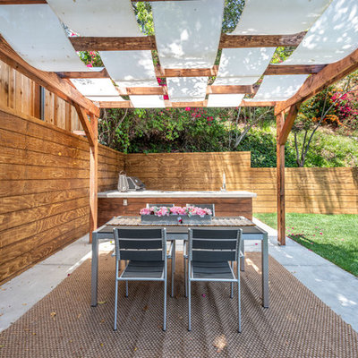 Inspiration for a mid-sized contemporary backyard concrete patio kitchen remodel in Los Angeles with a pergola