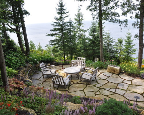 Stone Patio Design Ideas square paver stone patio ideas paver patio designs backyard paver Example Of A Coastal Patio Design With Natural Stone Pavers