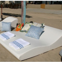 Double Wide Tide Outdoor Chaise - The double-wide Tide outdoor chaise lounge.