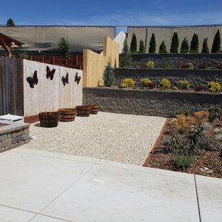 Immagine di un grande patio o portico tradizionale dietro casa con lastre di cemento