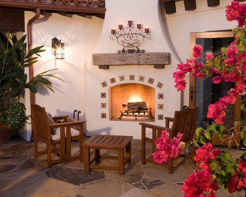 Stucco fireplace remodel houzz for Spanish style fireplace