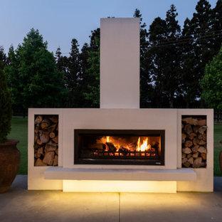 Idee per un patio o portico minimalista di medie dimensioni e davanti casa con un caminetto, lastre di cemento e un tetto a sbalzo