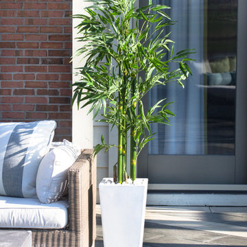 Elegant Patio with Nearly Natural Bamboo Tree