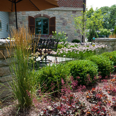 Inspiration for a mid-sized timeless backyard stone patio remodel in Milwaukee