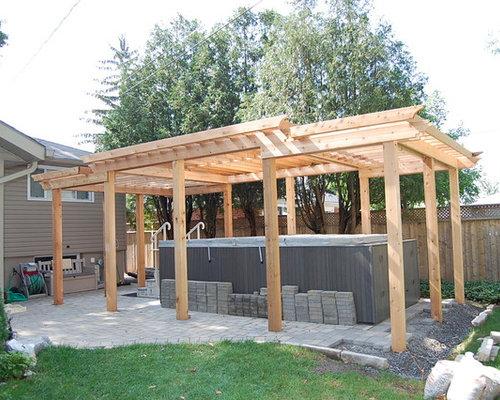 Save. Enclosed Cedar Pergola for Outdoor ... - Enclosed Cedar Pergola For Outdoor Swim Spa