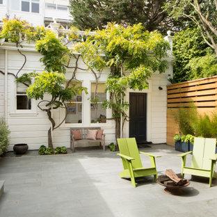 Idee per un grande patio o portico minimal in cortile con un giardino in vaso, pavimentazioni in pietra naturale e nessuna copertura