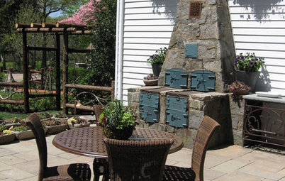 A 1920s Grill Inspires a Patinated Patio