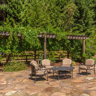 Foto di un ampio patio o portico rustico dietro casa con pavimentazioni in pietra naturale e nessuna copertura