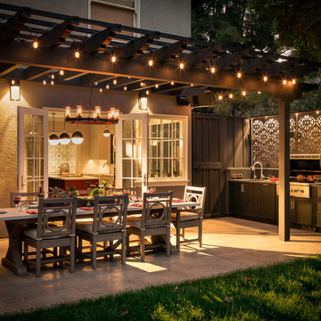 Exterior Patio Dining Table and Outdoor kitchen