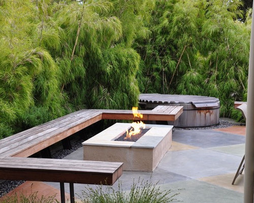 Modern Patio Idea In San Luis Obispo With A Fire Pit