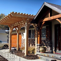 Family Size Pergolas - Western Timber Frame freestanding Family Size pergola with extended roof for added shade.