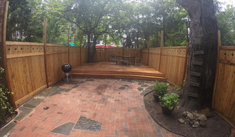 Fence, Deck, and Patio: Back yard in Park Slope Brooklyn, NY