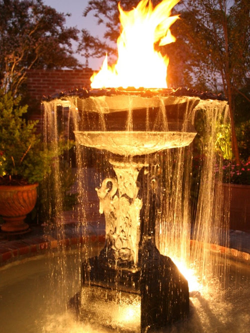 Fire and water fountains houzz for Fire and water features