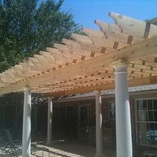 Traditional Patio Fiberglass Columns and Cedar Wood Pergola
