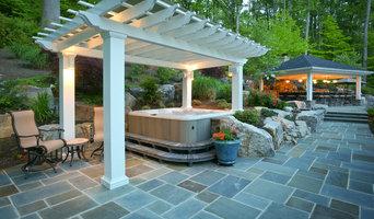 Fiberglass pergola covering hot tub