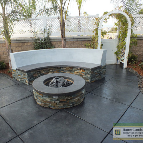 Inspiration For A Small Contemporary Backyard Stamped Concrete Patio  Remodel In Santa Barbara With A Fire