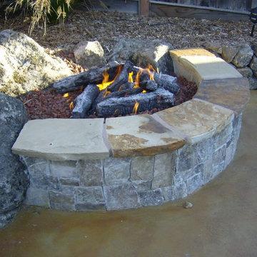 Fire Pit Built into Slope