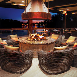 firegear Built-In Products - Stunning gas fire pit using firegear Outdoors products overlooking the lake in Gibbsboro, New Jersey