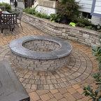 Grey Concrete Paver Brick Walkway With Single Border