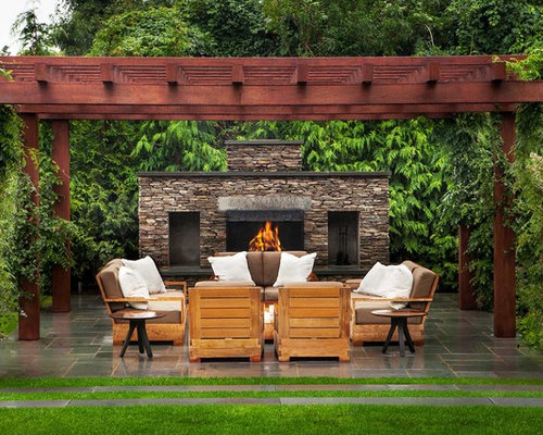 Great Transitional Tile Patio Photo In New York With A Fire Pit And A Pergola