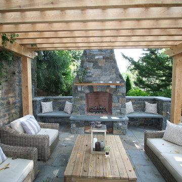 Fireplace, patio, pergola