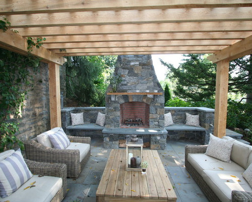 Outdoor stone fireplace houzz for Outdoor furniture 77386