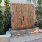 Fireplace With Waterfall Contemporary Patio Orange