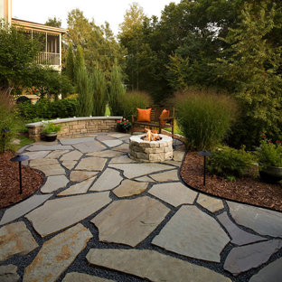 Flagstone Patio and Natural Stone Fire Pit
