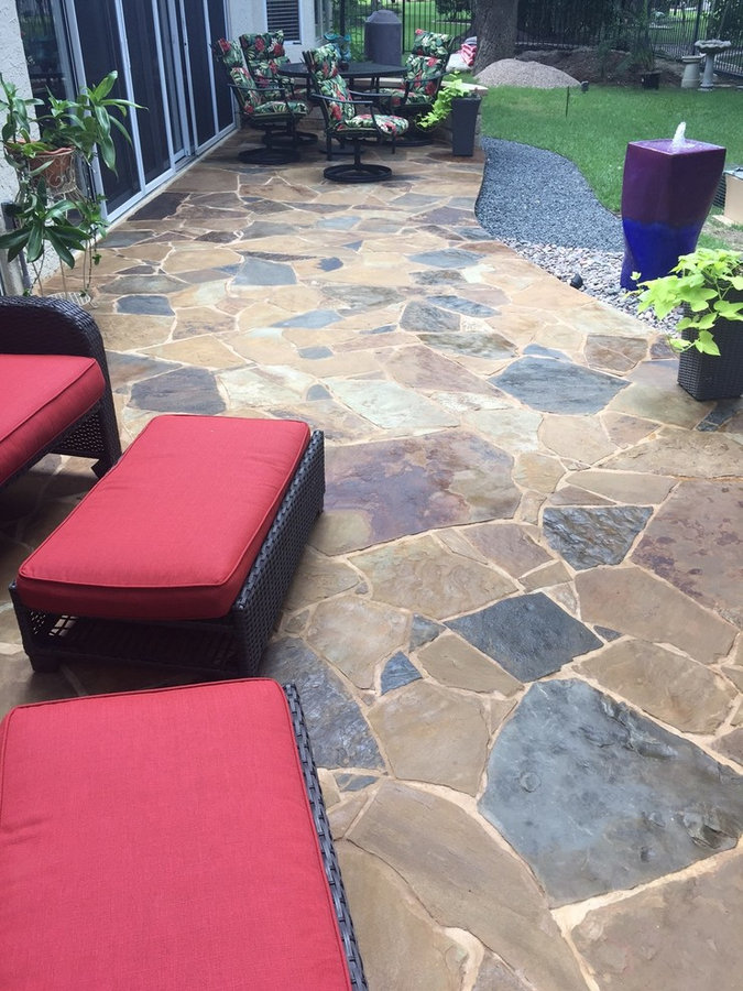 Flagstone patio, basalt and pondless water feature