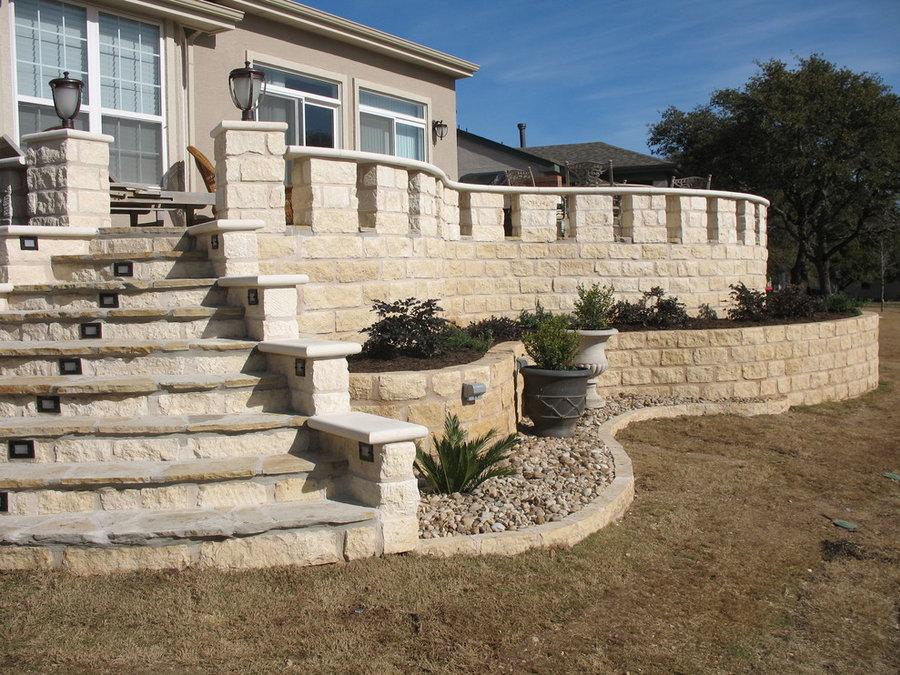 Flagstone patio w/ custom limestone