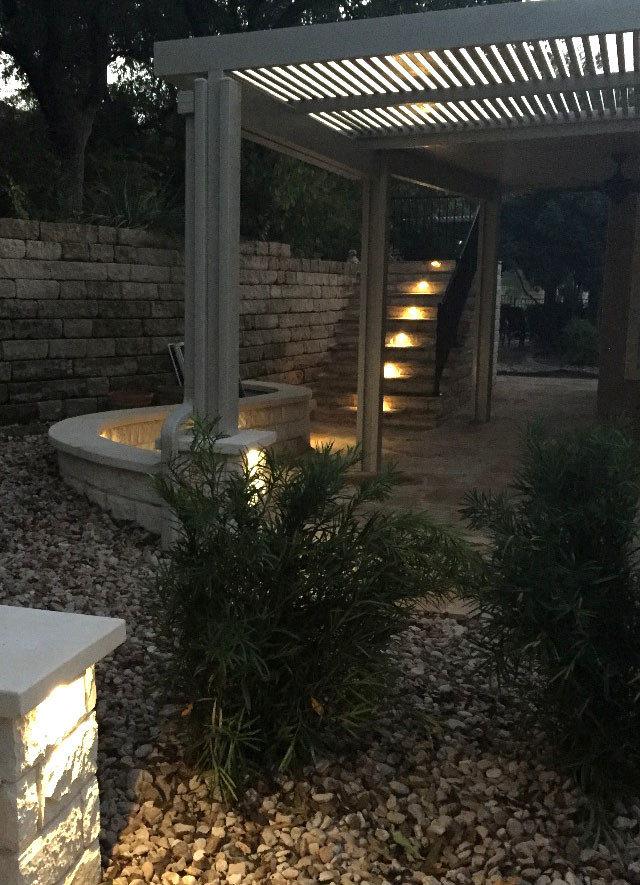 Flagstone patio w/ lighting and steps, Alumawood canopy