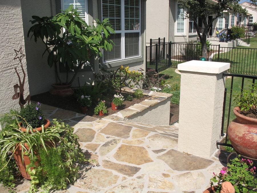 Flagstone patio w/ stucco columns