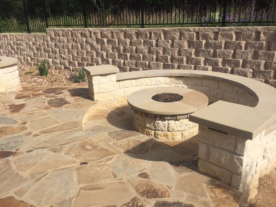 Flagstone patio w/ sunken gas fire pit and seating area