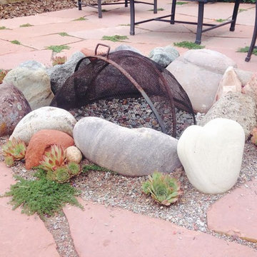 Flagstone Patio with Fire Pit & Gardens