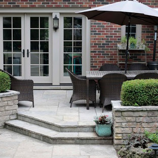Flagstone Patio with Natural Stone Planters
