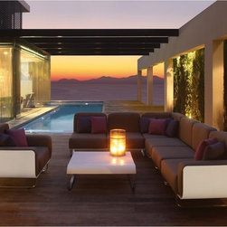Fold Outdoor Sectional Sofa - The Fold outdoor sectional sofa can create an L-shaped sofa or a straight line sofa. Matching arm chairs, ottoman and coffee table are also available.