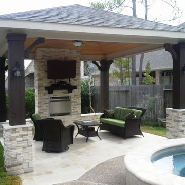 Free-standing patio cover w/ gas fireplace